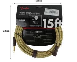 FENDER CABLE DELUXE SERIES 15' ANGLED TWEED Кабель инструментальный