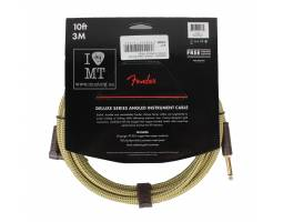 FENDER CABLE DELUXE SERIES 10' ANGLED TWEED Кабель инструментальный
