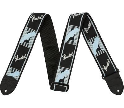 Купить FENDER 2 MONOGRAMMED BLACK LIGHT GREY MEDIUM BLUE STRAP Ремень гитарный онлайн