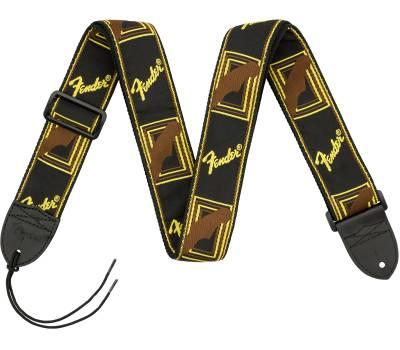 Купить FENDER 2 MONOGRAMMED BLACK/YELLOW/BROWN STRAP Ремень гитарный онлайн