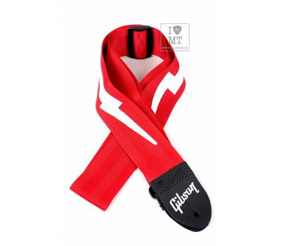 Купить GIBSON ASGSBL-20 LIGHTNING BOLT STYLE 2 SAFETY STRAP - FERRARI RED Ремень гитарный онлайн