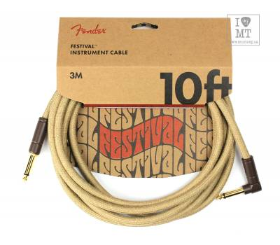 Купити FENDER 10' ANGLED FESTIVAL INSTRUMENT CABLE PURE HEMP NATURAL Кабель інструментальний онлайн