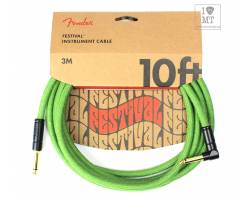 FENDER 10' ANGLED FESTIVAL INSTRUMENT CABLE PURE HEMP GREEN Кабель инструментальный