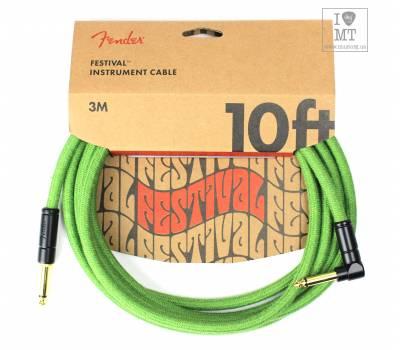 Купить FENDER 10' ANGLED FESTIVAL INSTRUMENT CABLE PURE HEMP GREEN Кабель инструментальный онлайн