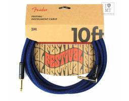 FENDER 10' ANGLED FESTIVAL INSTRUMENT CABLE PURE HEMP  BLUE DREAM Кабель инструментальный