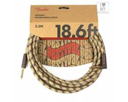 FENDER 18.6' ANGLED FESTIVAL INSTRUMENT CABLE PURE HEMP BROWN STRIPE Кабель інструментальний