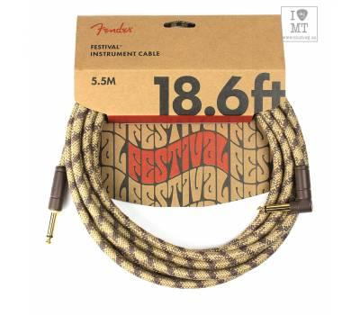Купить FENDER 18.6' ANGLED FESTIVAL INSTRUMENT CABLE PURE HEMP BROWN STRIPE Кабель инструментальный онлайн