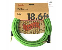 FENDER 18.6' ANGLED FESTIVAL INSTRUMENT CABLE PURE HEMP GREEN Кабель інструментальний