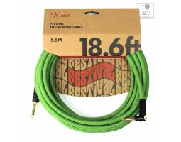FENDER 18.6' ANGLED FESTIVAL INSTRUMENT CABLE PURE HEMP GREEN Кабель инструментальный