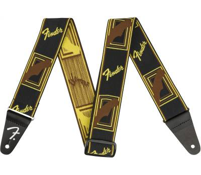 "Купити FENDER 2"" WEIGHLESS MONOGRAMMED STRAP BLACK/YELLOW/BROWN Ремінь гітарний онлайн"