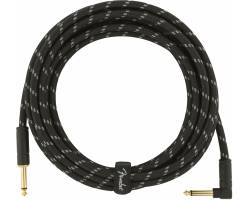 FENDER CABLE DELUXE SERIES 15' ANGLED BLACK TWEED Кабель инструментальный